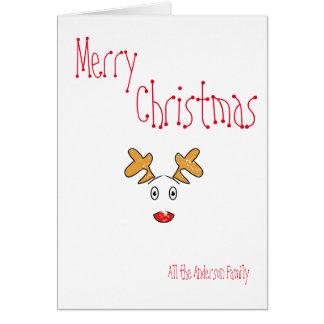 Simple minimal christmas Rudolph red nose reindeer Card
