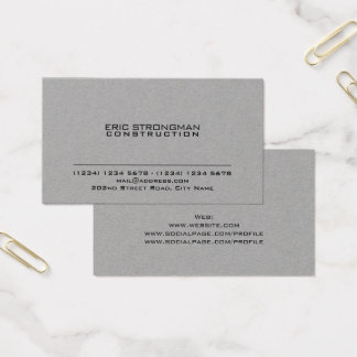 Simple minimal grey cement kraft style business card