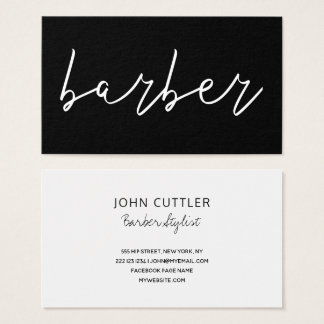 Simple minimalist black white barber typography business card