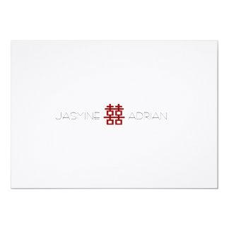 Simple Minimalist Double Happiness Chinese Wedding 13 Cm X 18 Cm Invitation Card