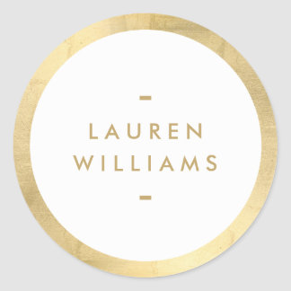 Simple Minimalist Faux Gold Border Classic Round Sticker