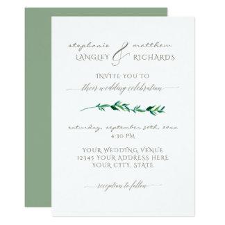 Simple Minimalist Modern Leaf Leaves Typography Card