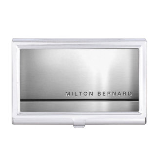 Simple Minimalist Silver Metallic Look Business Card Holder