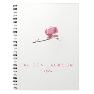 Simple minimalist watercolor floral blush pink spiral notebook