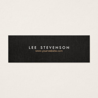 Simple Minimalistic Solid Black  Linen Look No. 3 Mini Business Card