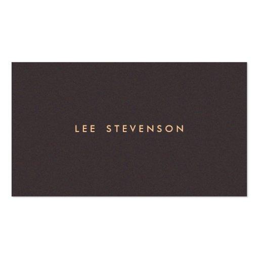 Simple Minimalistic Solid Dark Brown Suede Look Business Card