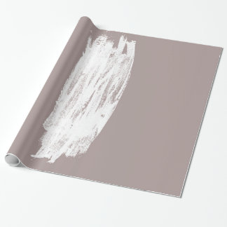 Simple Minimalistic White Brushtrokes on Beige Wrapping Paper