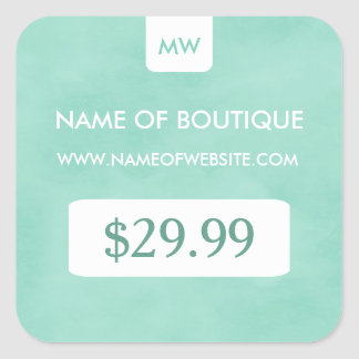 Simple Mint Chic Boutique Monogram Price Tags
