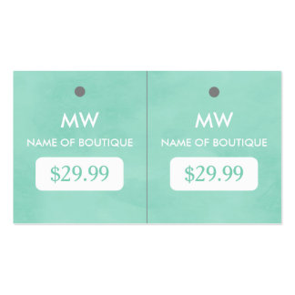 Simple Mint Green Chic Boutique Monogram Hang Tags Pack Of Standard Business Cards