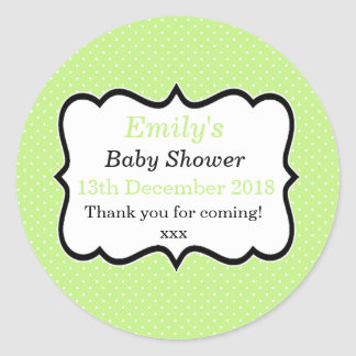 Simple mint green unisex modern baby shower labels round sticker