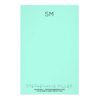 Simple Mint Monogram Initials and Name Stationary Personalised Stationery