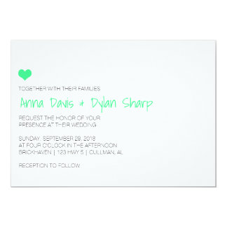 Simple MintHeart Wedding Invitation