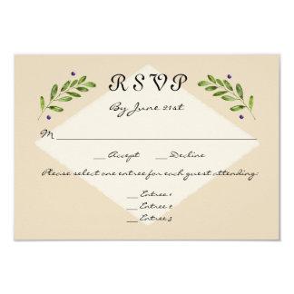 Simple Modern 3 Menu Choices RSVP Response Wedding Card
