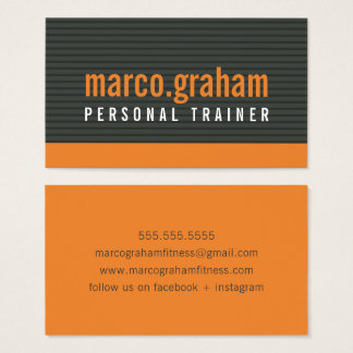 SIMPLE MODERN BAND bold masculine orange charcoal Business Card