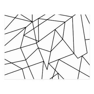 Simple Modern Black and White Geometric Pattern Postcard