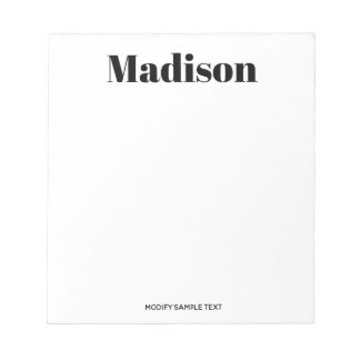 Simple Modern Black White Typography Notepad
