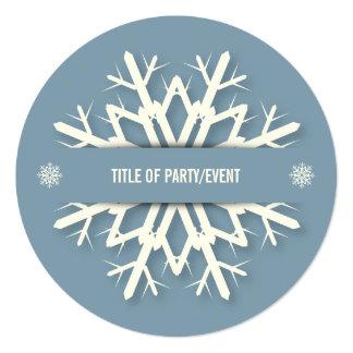 Simple Modern Blue Snowflake Christmas Party 13 Cm X 13 Cm Square Invitation Card