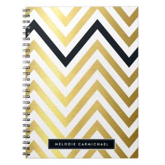 SIMPLE modern cute chevron pattern gold black Notebooks