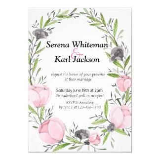 Simple modern drawn botanical floral wreath card