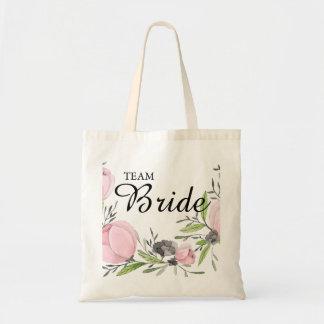 Simple modern drawn botanical floral wreath tote bag
