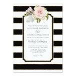 Simple Modern Elegant Black White Stripe w Gold 13 Cm X 18 Cm Invitation Card