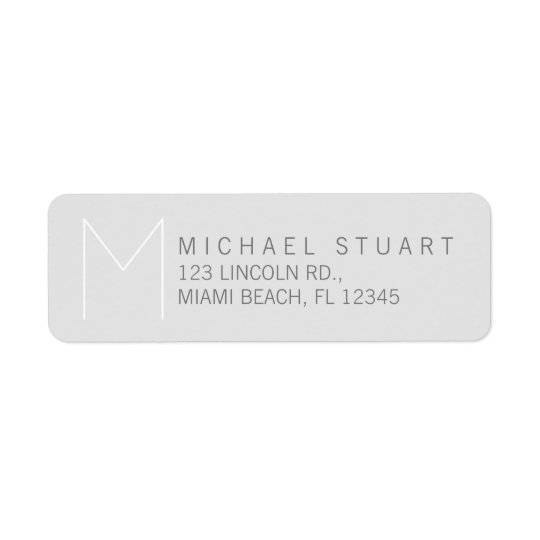 Simple Modern Elegant Grey Monogram Return Address Label