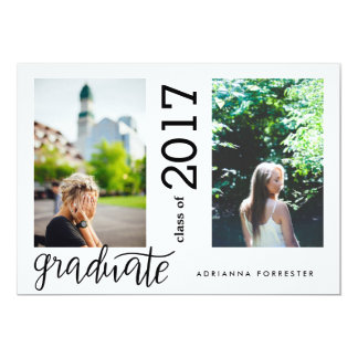 Simple Modern Graduate Handwritten Two Photos Card
