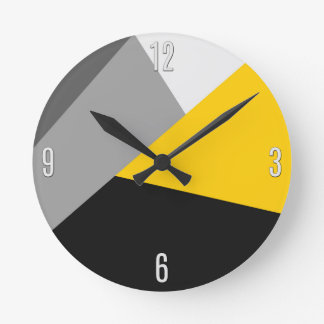 Simple Modern Gray Yellow and Black Geo Wall Clocks