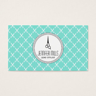 simple modern hairstylist hair stylist mint shears business card