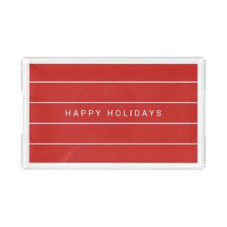 Simple Modern Happy Holidays Acrylic Tray