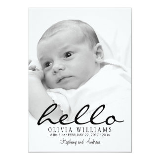 Simple Modern Hello Baby Birth Photo Announcement
