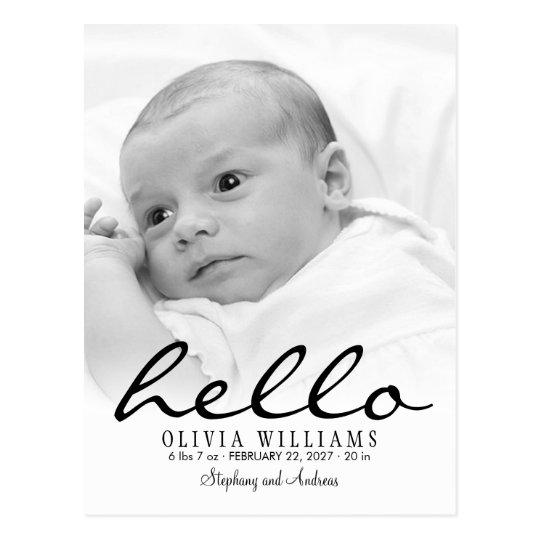 Simple Modern Hello Baby Birth Photo Postcard