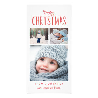 Simple Modern Merry Christmas Photo Collage Photo Card Template