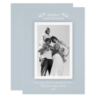 Simple Modern Minimal Blue Christmas Photo Card