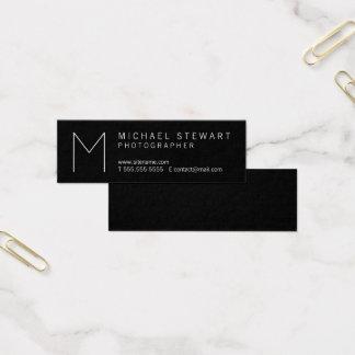 Simple Modern Minimalist Black and White Monogram Mini Business Card