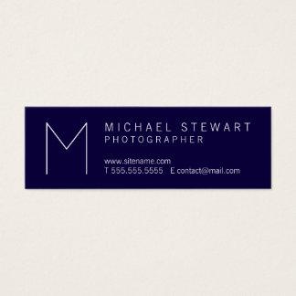 Simple Modern Minimalist Navy Blue Monogram Mini Business Card