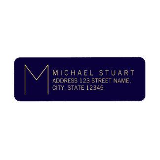 Simple Modern Navy Blue and Gold Monogram Return Address Label