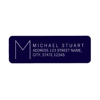 Simple Modern Navy Blue and White Monogram Return Address Label