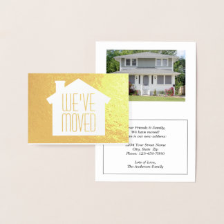 Simple Modern New Address | We've Moved Gold Real Foil Card