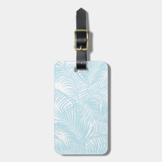 Simple modern pastel blue tropical palm tree luggage tag