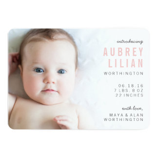 Simple Modern Photo Girl Birth Announcements