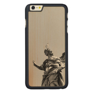Simple, modern photo of seagull on top of statue carved maple iPhone 6 plus case