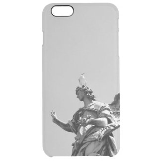 Simple, modern photo of seagull on top of statue clear iPhone 6 plus case