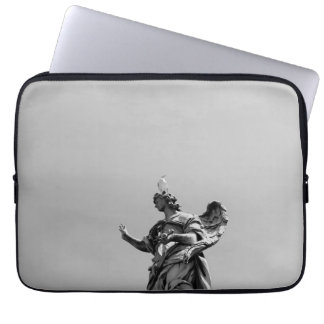 Simple, modern photo of seagull on top of statue laptop sleeve