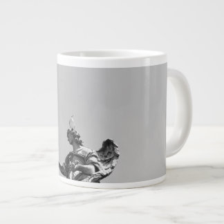 Simple, modern photo of seagull on top of statue large coffee mug