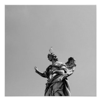 Simple, modern photo of seagull on top of statue poster