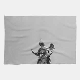 Simple, modern photo of seagull on top of statue tea towel