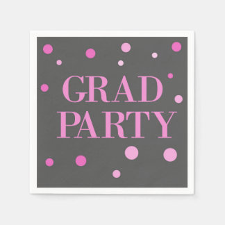 Simple Modern Pink and Gray Graduation Party Disposable Napkin