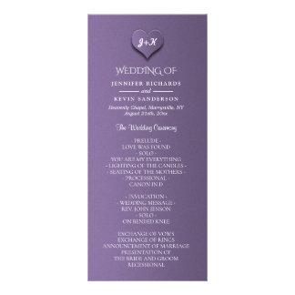Simple Modern Purple Paper Wedding Program Rack Card