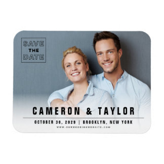 Simple Modern Square Save The Date Photo Magnet